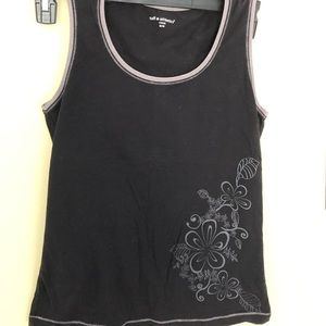 2/$15 tank black with floral outline m